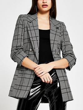 River Island Sequin Check Blazer - Black, Black, Size 8, Women