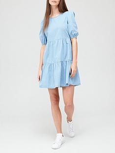 v-by-very-denim-tiered-smock-dress-mid-wash