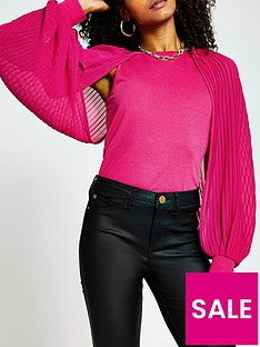 river-island-pleat-sleeve-top-pink