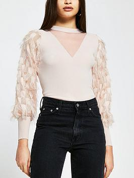 river-island-faux-feather-sleeve-knitted-top-light-pink