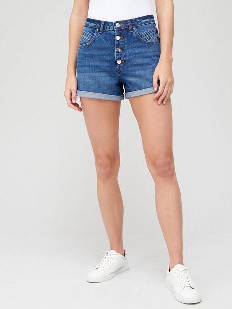 v-by-very-button-front-mom-denim-short-mid-wash
