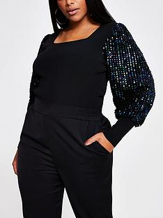 ri-plus-sequin-sleeve-knitted-top-black