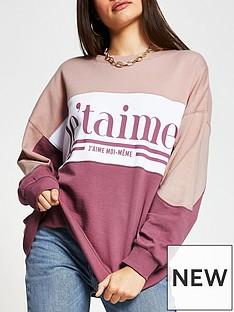 river-island-slogan-front-colour-block-jumper-pink