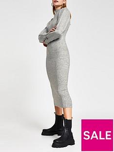river-island-volume-sleeve-knitted-midi-dress-grey