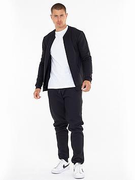 Brave Soul Baseball Collar Sweater And Jogger Set - Black/Charcoal, Black/Charcoal, Size S, Men