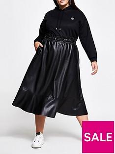 ri-plus-elastic-waist-pu-midi-skirt-black