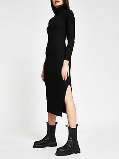 river-island-high-neck-cosy-jersey-midi-dress-black