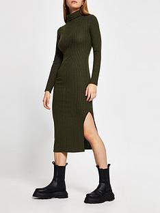river-island-high-neck-cosy-jersey-midi-dress-khaki