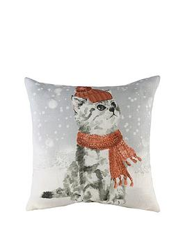 Product photograph showing Riva Home Snowy Cat With Scarf Christmas Cushion