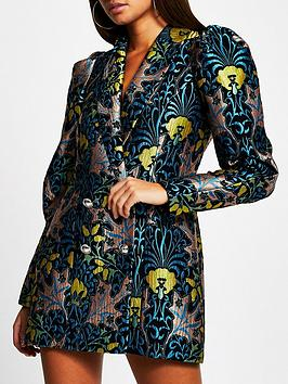 river-island-jacquard-blazer-dress-blue