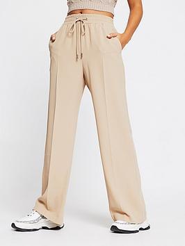 river-island-elasticated-waist-wide-leg-trouser-camel