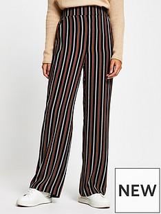 river-island-stripe-wide-leg-trouser-brown
