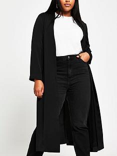 ri-plus-collarless-tie-waist-duster-black