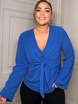 In The Style In The Style X Jac Jossa Tie Front Flare Sleeve Top - Blue, Blue, Size 6, Women