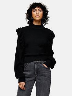 topshop-ruffle-front-jumper-black