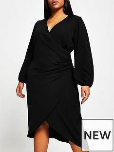 ri-plus-wrap-midi-dress-black