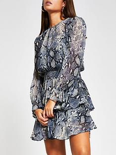 river-island-snake-print-shirred-waist-mini-dress-blue
