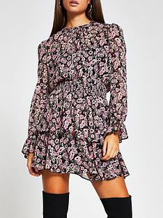 river-island-floral-print-shirred-waist-mini-dress-pink