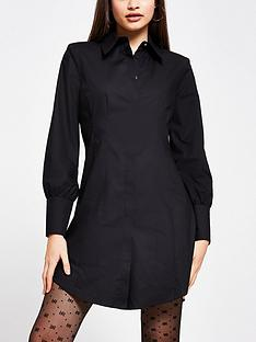 river-island-shoulder-pad-waisted-shirt-dress-black