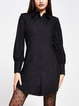 river-island-shoulder-pad-waisted-shirt-dress-black