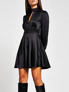 river-island-satin-split-front-waisted-mini-dress-black