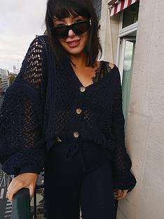 in-the-style-in-the-style-x-lorna-luxe-bellenbspcrochet-balloon-sleeve-oversized-cardigan-navy