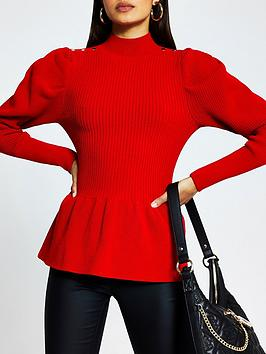 river-island-peplum-knitted-top-red