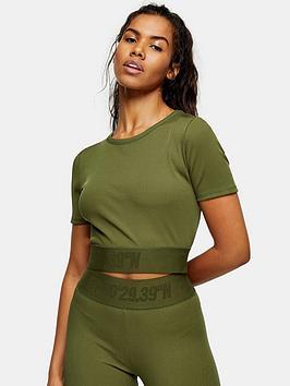 Topshop Nadia Crop Top - Khaki, Khaki, Size Xl, Women