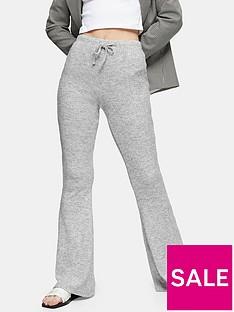 topshop-rib-marl-flare-trousers-grey