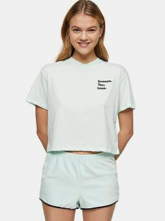 topshop-snooze-embroidered-boxy-pyjama-set-sage
