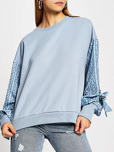 river-island-woven-monogram-sleeve-eyelet-detail-sweater-blue