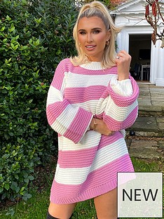 in-the-style-in-the-style-x-billie-faiers-stripe-jumper-dress-blush