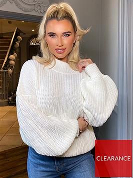 in-the-style-in-the-style-x-billie-faiersnbspballoon-sleeve-jumper-cream