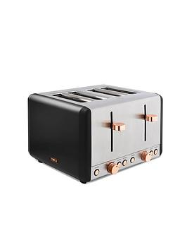 Tower Cavaletto 4-Slice Toaster - Black  Rose Gold