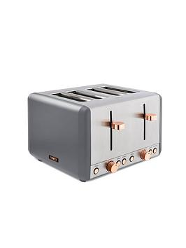 Tower Cavaletto 4-Slice Toaster - Grey  Rose Gold