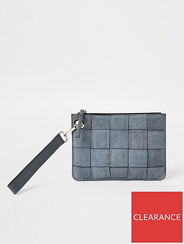 river-island-woven-suede-clutch-grey