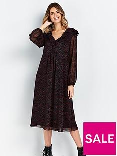 wallis-frill-dotty-dress-black