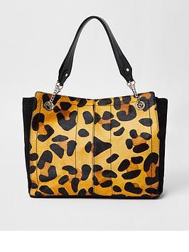 River Island Leather Leopard Tote Bag - Black, Beige, Women