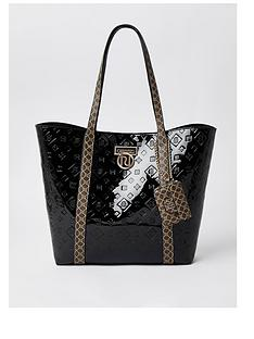 river-island-patent-and-monogram-shopper-bag-black