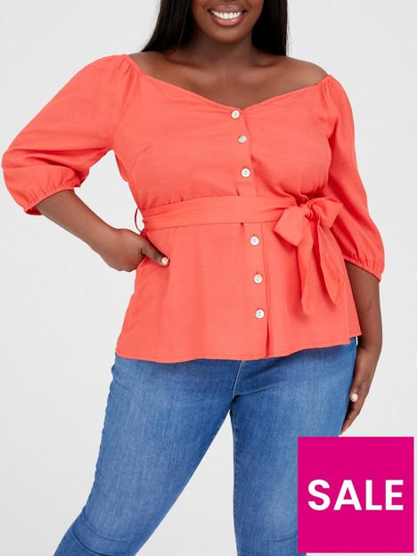 v-by-very-curve-off-the-shoulder-linen-mix-blouse-red