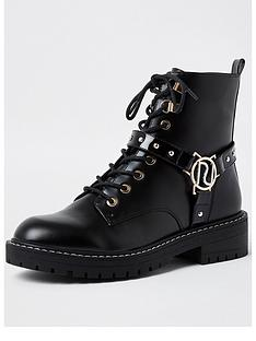 river-island-branded-harness-chunky-lace-up-boot-black