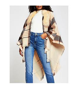 river-island-check-cape-with-faux-fur-collar-brown