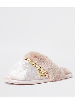 river-island-quilted-mule-slipper-pink
