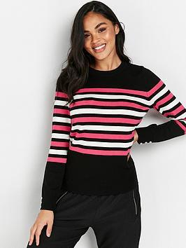 wallis-pink-stripe-crew-v-neck-jumper-black