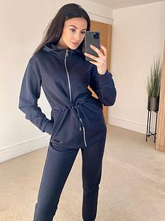 michelle-keegan-tie-waist-textured-peplum-jacket-navy
