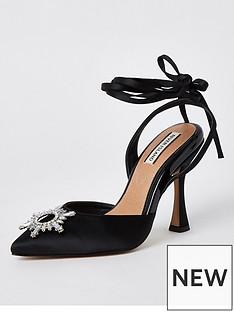 river-island-embellished-ankle-tie-court-shoe-black