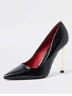 river-island-chain-heel-court-shoe-black