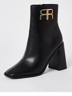 river-island-branded-heeled-ankle-boot-black