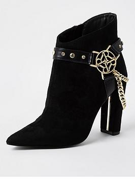river-island-branded-harness-chain-detail-ankle-boot-black