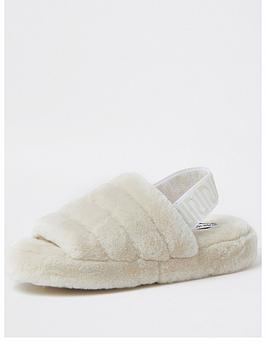 river-island-peep-toe-back-strap-fluffy-slipper-cream